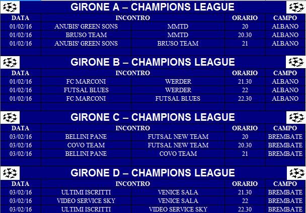 Calendario Champions Legue.Champions Provvisorio Bergamotornei It